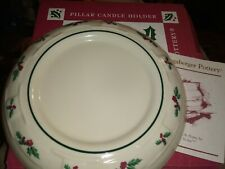Longaberger Pillar Candle holder christmas holly 2001 pottery new with box