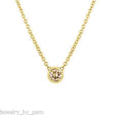 0.25 CARAT CHAMPAGNE DIAMOND SOLITAIRE PENDANT NECKLACE 14K YELLOW GOLD HANDMADE
