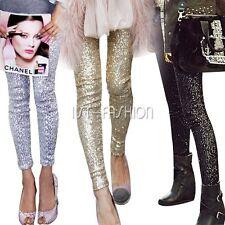 Women's Celeb Style Sequined Pencil Pants Skinny Trousers Leggings Clubwear