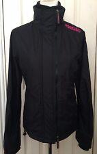 Superdry Women Black Pop Zip Windcheater Jacket Size M