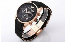 AR5905 Emporio-Armani-Men-039-s-Black-and-Gold-Chronograph-Dial-Watch  AR5905-E