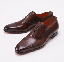 NIB $990 SANTONI FATTE A MANO Antique Brown Captoe Shoes US 6.5 D Brogue Detail