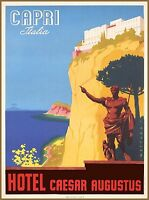 Capri Italy Italia Caesar Augustus Vintage Italian Travel Advertisement Poster