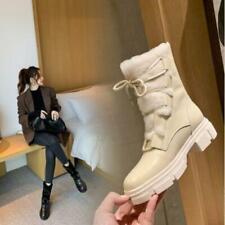 Women's 2020 Winter Fashion Leather Lamb Fur Lace Up Ankle Snow Boots Shoes SUNS