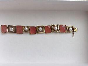 Vaubel  Rose Quartz And Pearl Bracelet 18k Gold