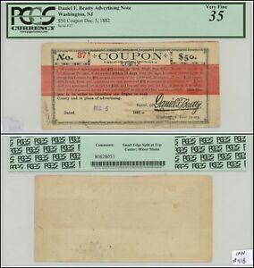 Washington, NJ 1882 Advertising Note, Daniel F. Betty, Unique! PCGS 35