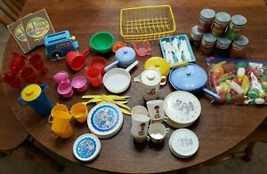 Vintage play kitchen set with Chilton tea set with  food several sets mixed