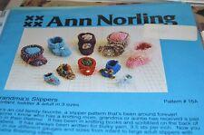 Ann Norling Knitting Pattern Grandma's Slippers Infant to Adult