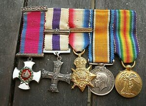 WW1 Rare Miniature Medal Group D.S.O. Military Cross & Bar Mons Star & Bar Trio