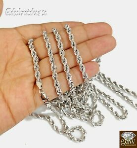 10k White Gold Rope Chain Solid in 22 24 26 28 Inch 5mm Men Women Real Gold