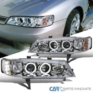 For 94-97 Honda Accord 2/4Dr Clear LED Halo Projector Headlights Head Lamps Pair
