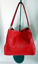 COACH Leather Madison Phoebe Classic Red Shoulder Bag NWT + Dust Bag$395 +Tax