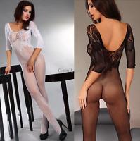 Women's Mesh Lace Fishnet Half Sleeve Backless Sexy Body Stockings Nightwear