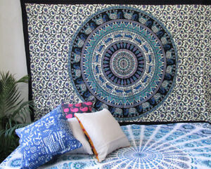 Queen Size Indian Elephant Wall Hanging Tapestry Home Decorative Bedspread Throw