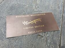 Montblanc Hemingway Limited Edition Reply Card Warranty
