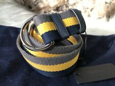 NWT Authentic Prada Mens Fabric Belt in Dark Blue / Yellow / Grey Stripe  95/38