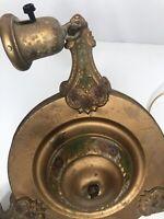 Antique Lincoln Art Deco Chandelier Victorian Nouveau Gold Painted 3 Light Vtg