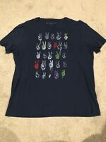 John Varvatos Star USA Dark Blue w/Peace Signs Printed Graphic T-Shirt Size L