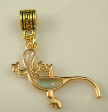 18K gilded European gecko Charm Bead Fit sterling 925 Necklace Bracelet w27