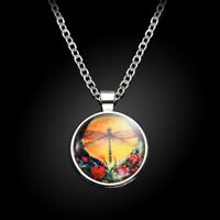 Fashion Colorful Dragonfly Cabochon Tibetan silver Glass Chain Pendant Necklace