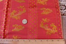 """French Antique Silk Brocade Chinoiserie Sample Fabric c1890~26""""Lx21""""W"""