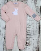 TAHARI Baby Girls 6-9 Months One Piece Romper Light Dusty Pink Bunny Knit Outfit