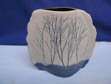 Tenmoku Pottery Vase Cobalt Blue Winter Trees & Gray Malaysia Handicraft Signed