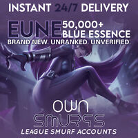 [EUNE 50K+] League of Legends Unranked Account EUNE SMURF LoL 50,000 - 60,000 BE