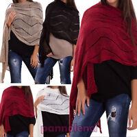 Sciarpa donna larga scialle traforata lana tricot accessori scarf nuova CR-1916