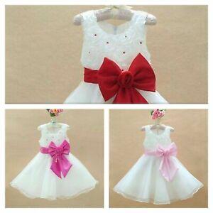 Girls Bridesmaid Dress Baby Flower Kids Party Rose Bow Summer Wedding Dresses