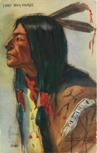 Artist Impression Chief High Horse C-1910 Native American Indian Postcard 7398