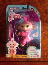 WooWee Fingerlings  Exclusive Rose Glitter Baby Monkey Pink With Bonus Blanket