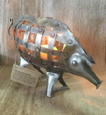 Pig of a Candle Nickle Plated Iron with gate access 22x5x15cm