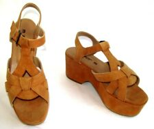 M par M - Wedge Sandals Hénon Leather Platform Velvet Orange 4 - New