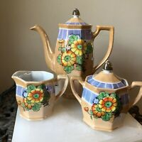 Lusterware Tea Set With Tea Pot Sugar And Creamer Hand Painted Made in Japan