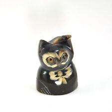 Lucky cat maneki neko figurine statue scrimshaw craft handmade thai black cat