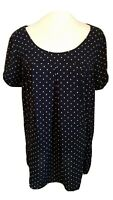 Holding Horses Anthropologie Medium Navy Blue Dot Tunic Top