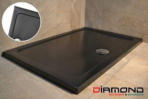 1700x900 BLACK MATT Rectangular Stone Slimline Shower Tray 35mm inc Waste
