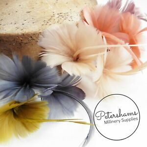 Petite Double Goose Feather Flower for Millinery, Fascinators Over 20 Colours!