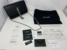 YVES SAINT LAURENT Kate MD Monogram YSL Silver Tassel Satchel Smooth Leather Bag