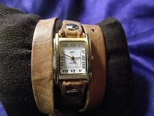 Woman's La Mer Collections Watch  with Leather Wrap Band **Nice** B86-1129