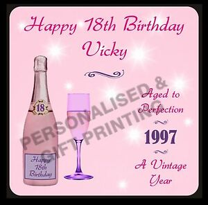PERSONALISED ANY AGE & DATE CHAMPAGNE COASTER 18 21 40 50 60 70 80 BIRTHDAY GIFT