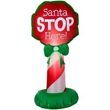 Home Accents 3 ft 6 in LED Santa Stop Here Sign Airblown Inflatable NEW