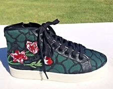 Steve Madden Allie High Top Sneakers Sz 7 Embroidered Flowers w/Crystals NEW $99