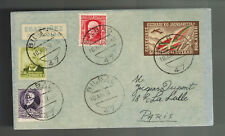 1937 Bilbao Spain Civil War Cover to paris France Euzkadi Airmail Label