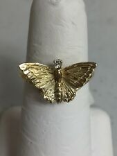 VINTAGE 18K YELLOW GOLD BUTTERFLY DIAMOND CHIP ACCENT RING