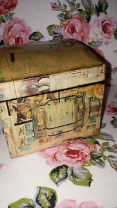 Vintage Decoupaged Anchor  Storage Chest