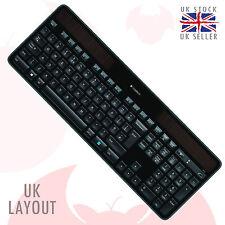 K750 logitech wireless solar keyboard pour windows ® qwerty, mise en page uk noir, un