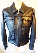 Harley Davidson Leather biker motorcycle jean jacket denim medium punk heavy vtg