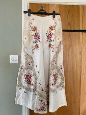 "Free People ""Bali Nanas"" Ivory Embroidered Wide Leg Trousers UK 8 wears 10 $248"
